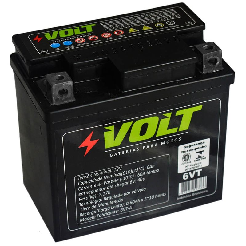 Bateria Moto Volt Selada 6 Amperes 12v