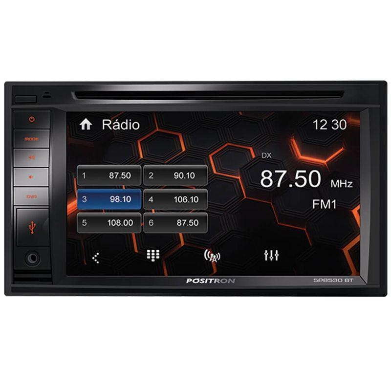 Central Multimídia Pósitron SP8530BT 2 Din Tela 6.2 Touch Bluetooth USB CD DVD MP3 FM