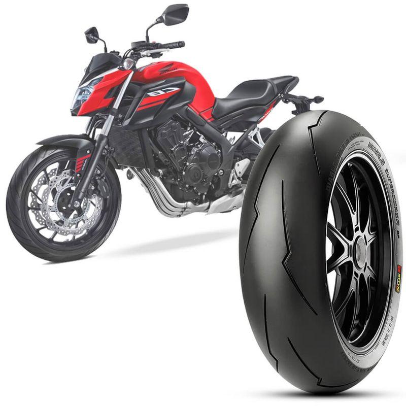 Pneu Moto Cb 650F Pirelli Aro 17 180/55-17 Tl 73w Traseiro Diablo Supercorsa Sp
