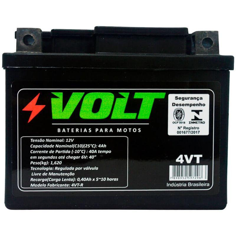 Bateria Moto Honda Biz 100 Volt 4VT Selada 4Ah 12 Volts