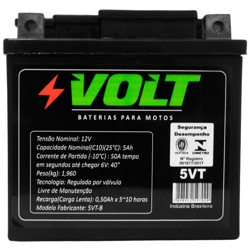 Bateria Moto Honda CG 150 Volt 5VT Selada 5Ah 12v