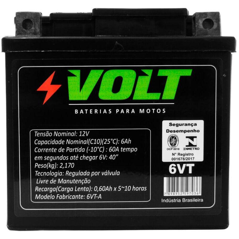 Bateria Moto Bros 150 Volt 6VT Selada 6 Amperes 12 Volts