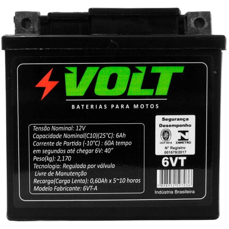 Bateria Moto Honda XRE 300 Volt 6VT Selada 6Ah 12 Volts