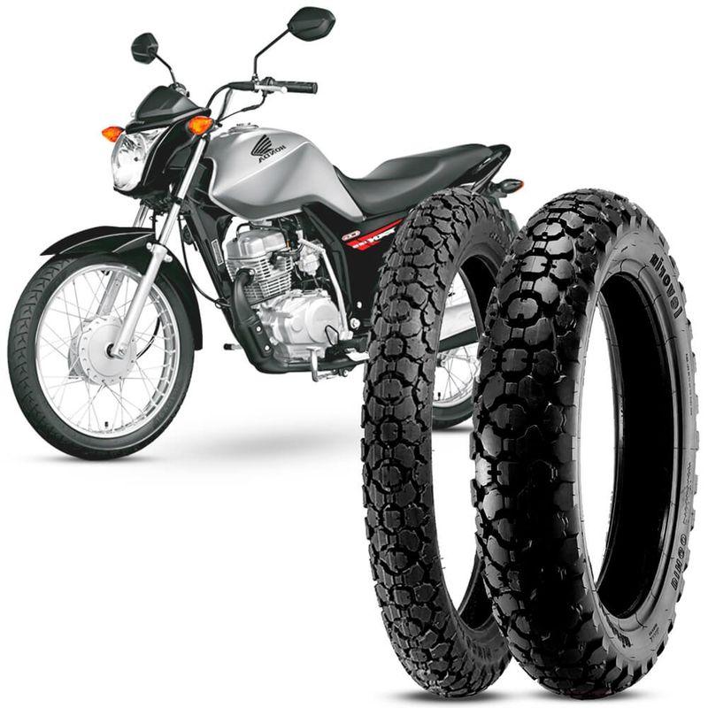 2 Pneu Moto CG 125 Fan Levorin Aro 18 80/100-18 47P M/C 90/90-18 57P M/C Dingo Evo