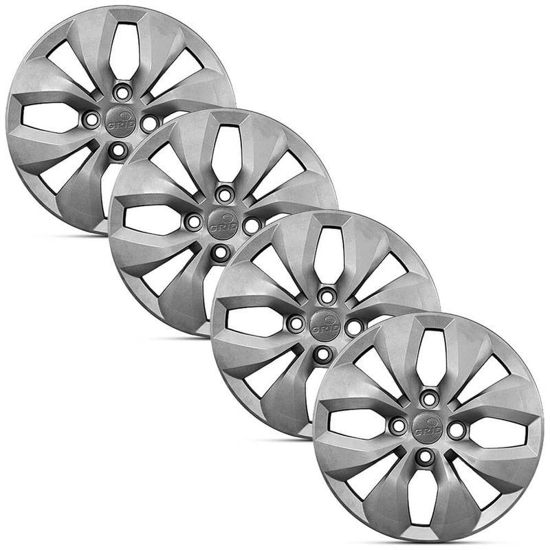 Jogo 4 Calota Modelo Original Volkswagen Gol G6 Prata Aro 13 Grid